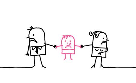 만화 부부 - 이혼과 자녀 스톡 콘텐츠