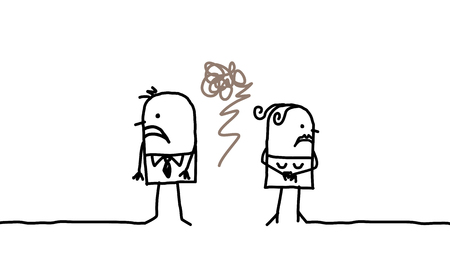 만화 커플 - 이혼 스톡 콘텐츠