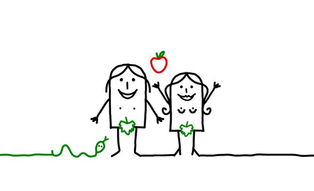 Cartoon couples - Adam and Eve