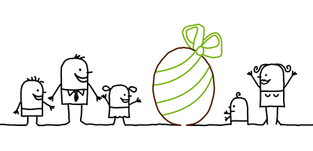 Cartoon family - Easter day and egg Stock Photo