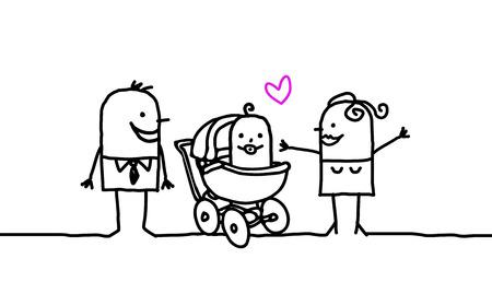 Cartoon family - new born baby