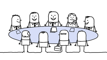 Cartoon characters - teamwork around a table