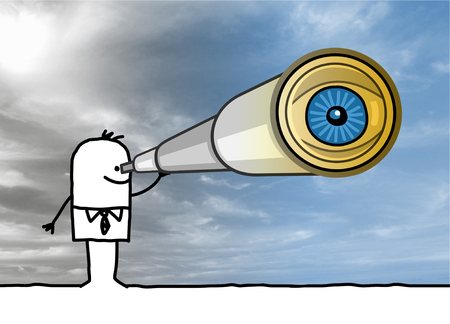 Cartoon Businessman with Telescope and Big Eye