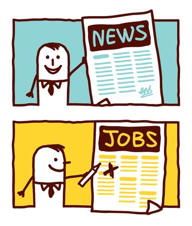 vector hand drawn cartoon characters - news & jobs