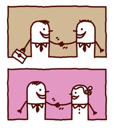 vector hand drawn cartoon characters - people handshakes