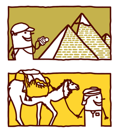 Vector hand drawn cartoon characters - Egypt Vettoriali