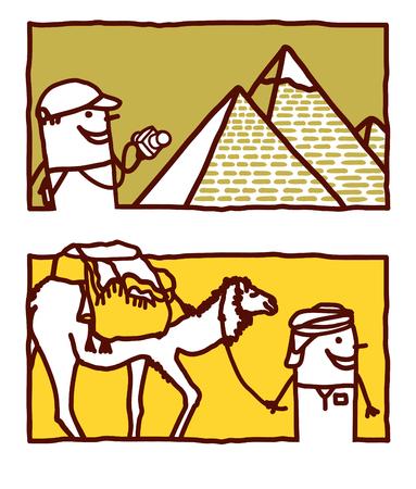 Vector hand drawn cartoon characters - Egypt Vectores