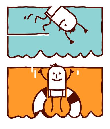 Vector hand drawn cartoon characters - diving Çizim
