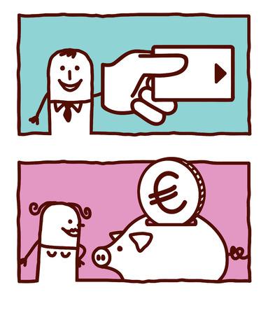 vector hand drawn cartoon characters - credit card & money box