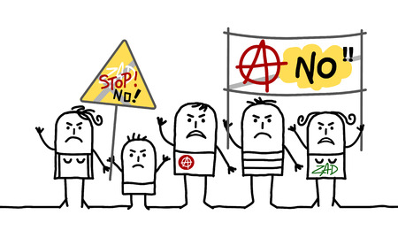 Cartoon Protesting Anarchist People in white background. Illustration