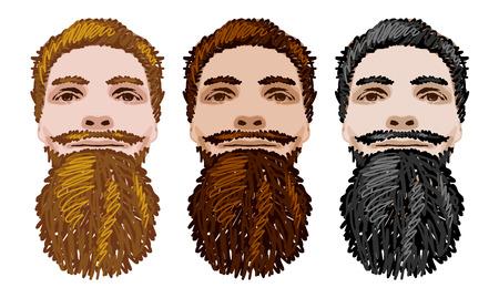 Three Vector Bearded Men Faces. Illustration