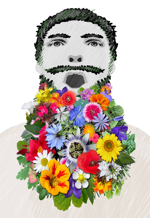 Colorful Flowers Bearded Man