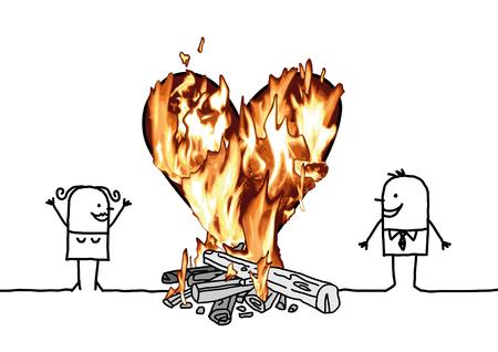 Cartoon Couple with a big Burning Heart