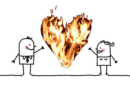 Cartoon Couple with a big Burning Heart