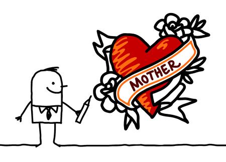 Cartoon man drawing a tattoo style heart illustration. Illustration