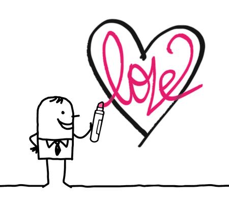 Cartoon man drawing a sketchy heart illustration.
