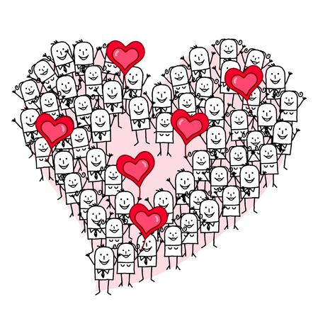 Cartoon Group of People making a Heart shape