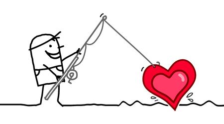 Cartoon Man Fishing a big Heart