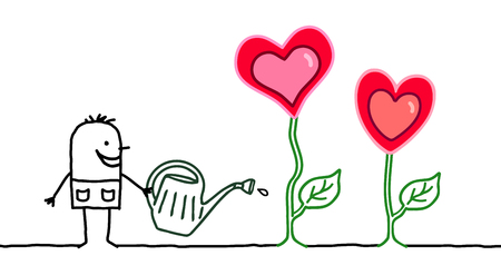 Cartoon Gardener with Growing Hearts