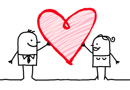 Cartoon Couple with Big Heart 向量圖像