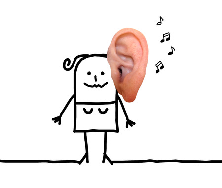 Cartoon Woman with Big Ear and Music