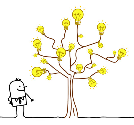 Cartoon Businessman Watching a Light Bulb Tree Çizim