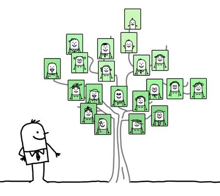 家族の木を見ている漫画の男