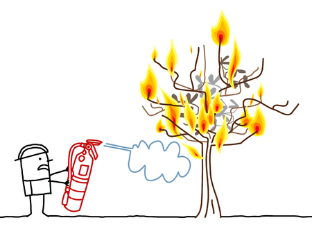 Cartoon Fireman and Burning Tree