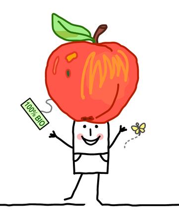 Cartoon Man with Big Organic Apple.