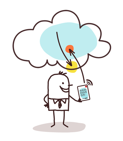 Cartoon Man with Tablet and Cloud Connection