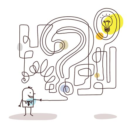 Cartoon Businessman with Maze and Solution