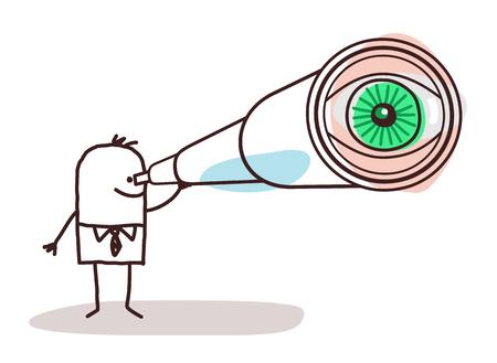 Cartoon Businessman with Big Telescope Eye Illustration