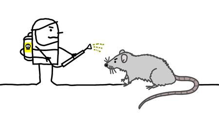 Cartoon Exterminator Man with Big Rat