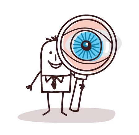 Cartoon Businessman with Big Magnifying Eye