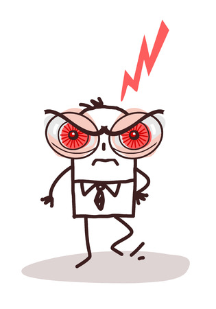 Cartoon Man with Big Angry Eyes Illustration