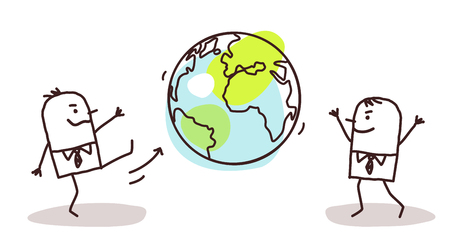Cartoon Businessmen Kicking the Earth