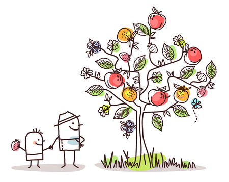 Cartoon Characters and Summer Tree Illustration