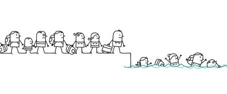 Cartoon Migrating People Vector illustration. Çizim