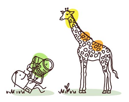 Cartoon Photographer Taking a Picture of Giraffe Illustration