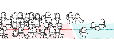 Cartoon Migrating People Vector illustration. Ilustração