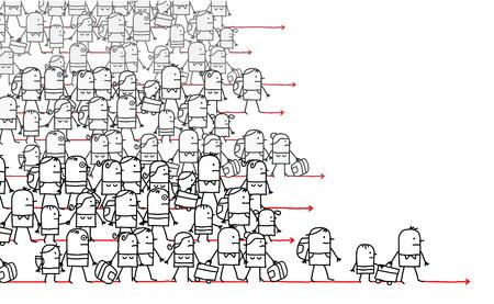 Cartoon Migrating People Vector illustration. Vectores
