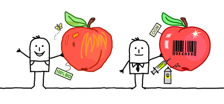 Cartoon Men with Organic and Industrial Apples, Vector illustration.