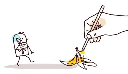 Drawing Big Hand - Cartoon Walking Man and Banana Peel Vetores