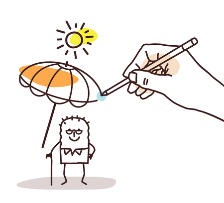 Drawing Big Hand - Cartoon Old Man with Parasol Vettoriali