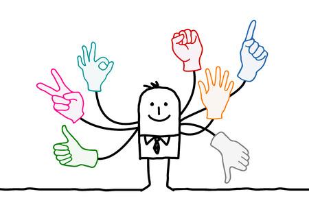 Cartoon Orator with Multi Hands Signs Vectores