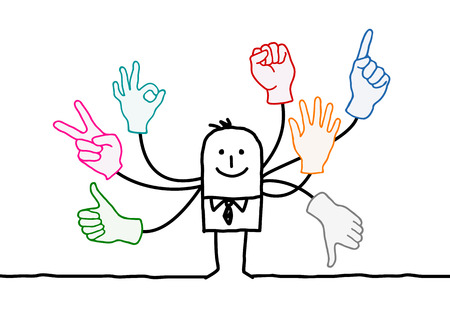 Cartoon Orator with Multi Hands Signs Illustration