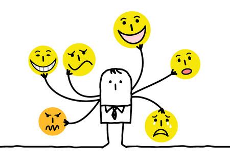 hombre de dibujos animados con múltiples caras emoticon