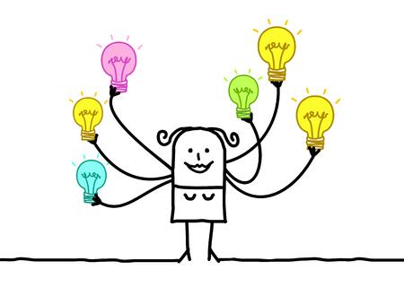 Cartoon Woman with Multi Light bulbs Vector illustration.