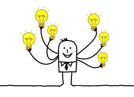 Cartoon Man with Multi Light bulbs