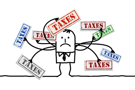 Cartoon man with Too Many Taxes Illustration
